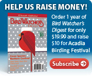 HELP US RAISE MONEY! Order 1 year of Bird Watcher's Digest for only $19.99 and raise $10 for the Acadia Birding Festival. Subscribe today.